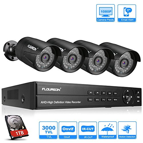 FLOUREON DVR Video Kit de vigilancia (8CH 1080N AHD DVR + 4 *1080P...